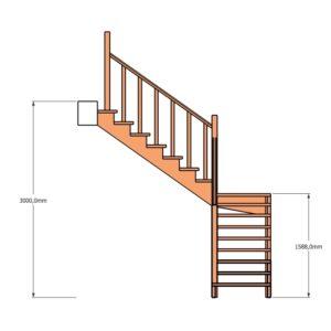 Г-образная лестница через площадку